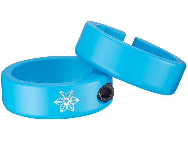 Supacaz Star Ringz Clamping Rings, neon blue matte powder-coated